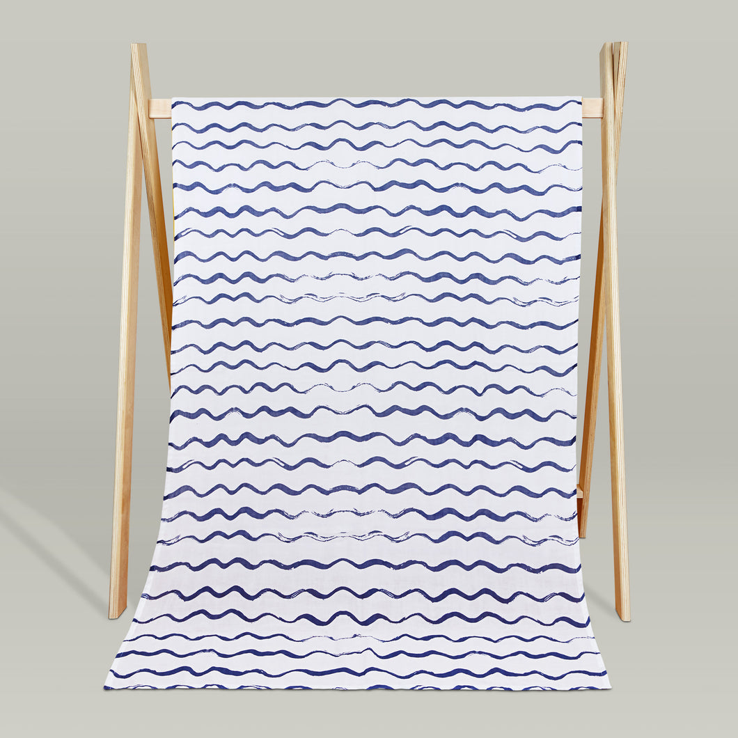 'Ocean waves' organic muslin beach blanket/throw