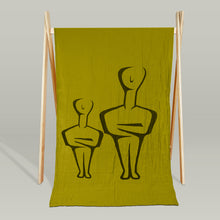 """Cycladic duo"" organic muslin beach blanket/throw"