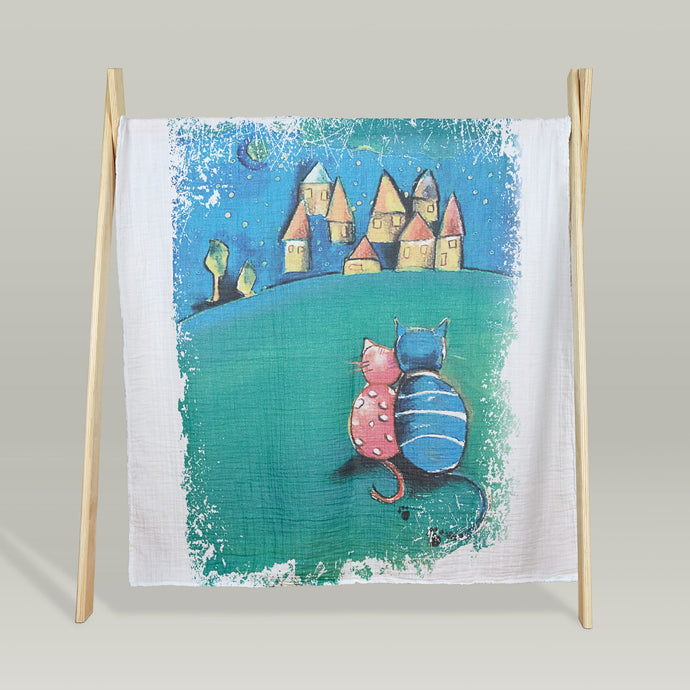 'Tales and dreams' organic muslin baby blanket