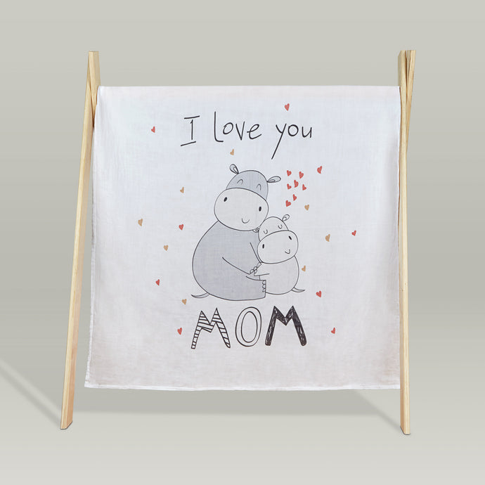 'All we need is love' organic muslin baby blanket