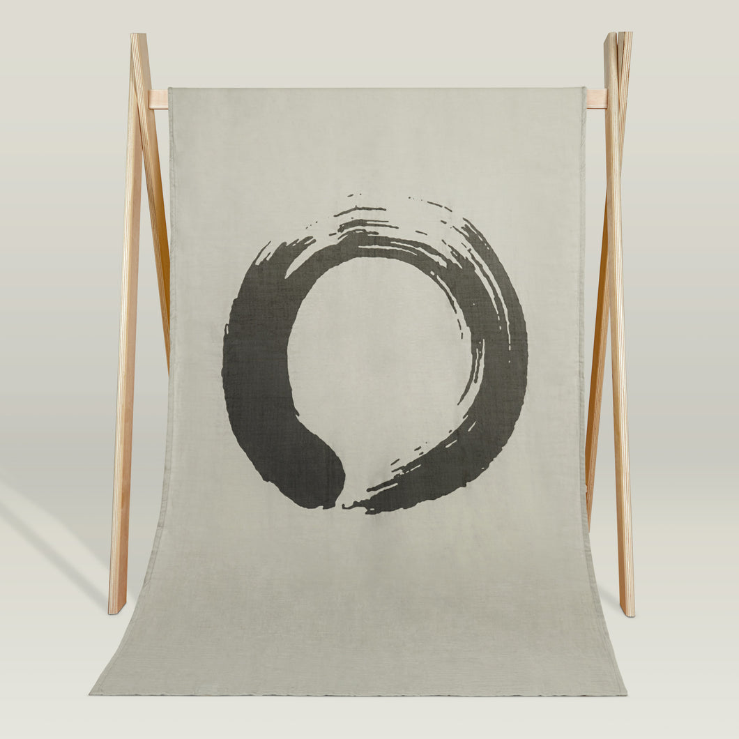 Zen -Enso- organic muslin beach blanket/throw
