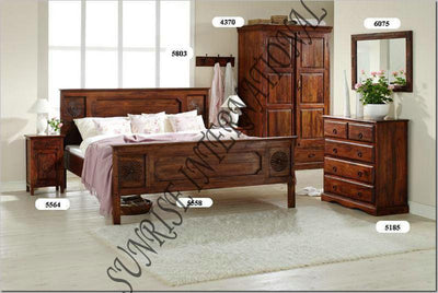 6pc Bedroom Set - 1 King/Queen Bed , 1 Wardrobe , 2 Bedsides , 1 Dresser, 1 mirror frame !- Furniture online: Buy wooden furniture for every home with best designs