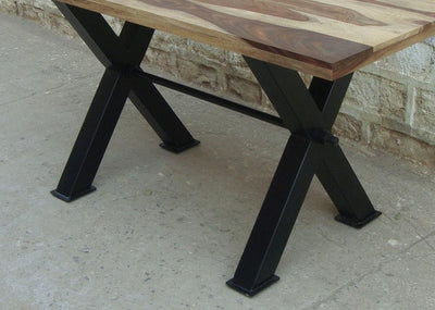 Custom order - Acacia wood live edge slab dining table and bench with CROSS Metal legs