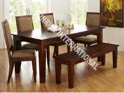 Custom order - Sierra Wooden Dining table with 4 Cushion chairs furniture set !- Furniture online: Buy wooden furniture for every home with best designs