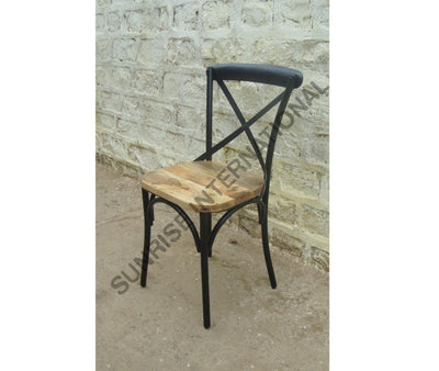 Designer Cross back Metal & wood combination chair for Home or Restaurant