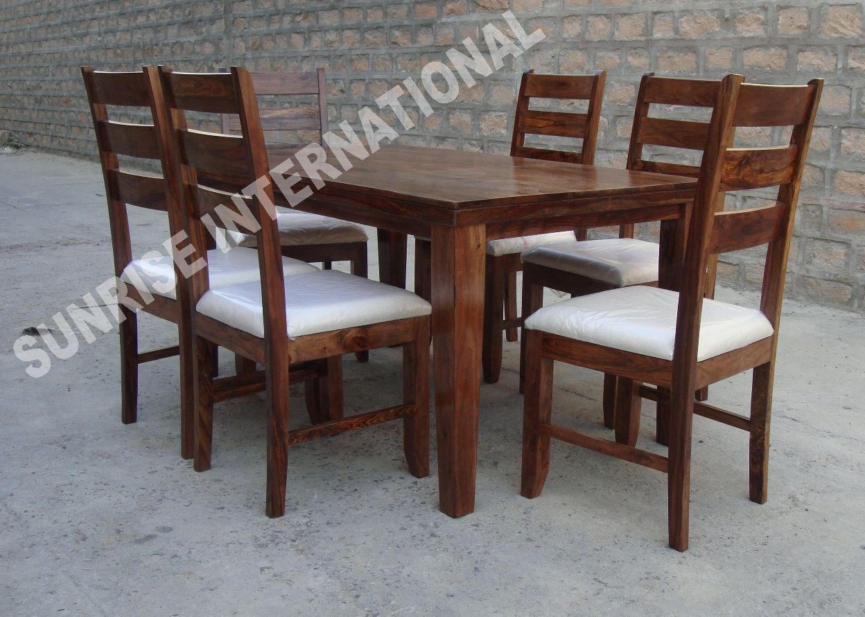 Modern Wooden Dining Table With 6 Chair Set