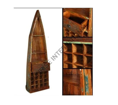 Reclaimed Wood Wooden Wine Rack Cabinet furniture manufacturers in Boat Design