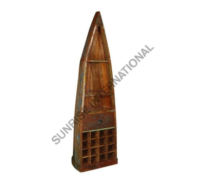 Reclaimed Wood Wooden Wine Rack Cabinet in Boat Design
