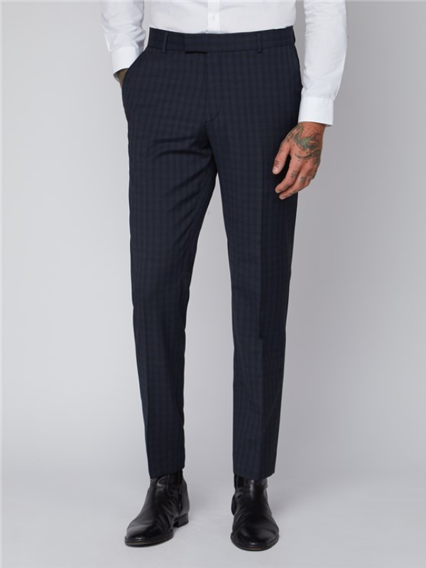Gibson London Blue Small Check Trouser