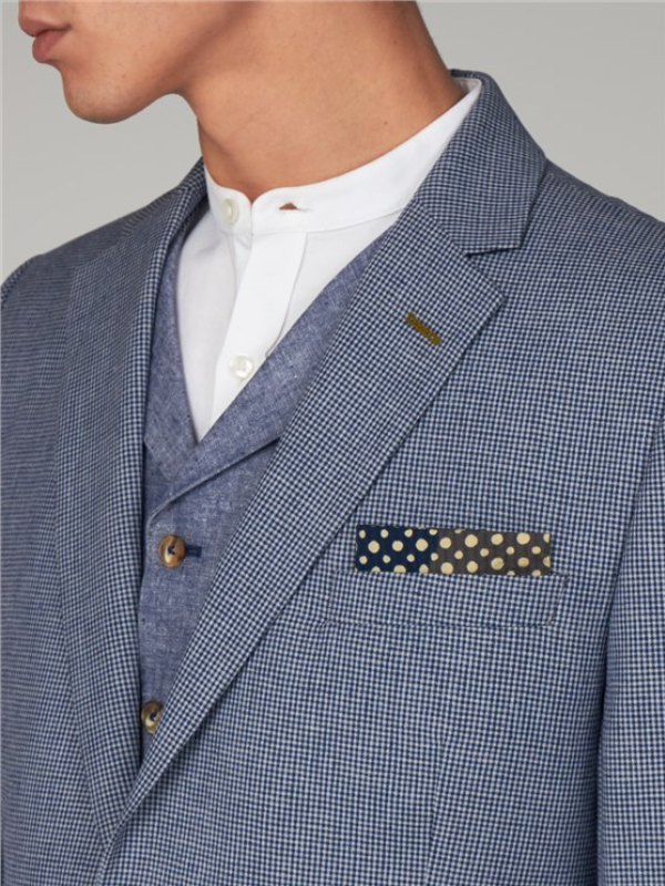 Gibson London Navy Micro Check Suit