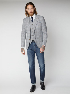 Gibson London Navy & Cream Check Blazer