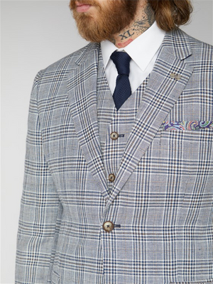 Gibson Navy & Cream Check Blazer