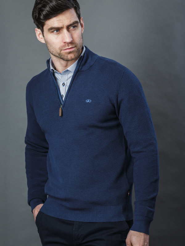 Andre Paris Navy 1/4 Zip Knit