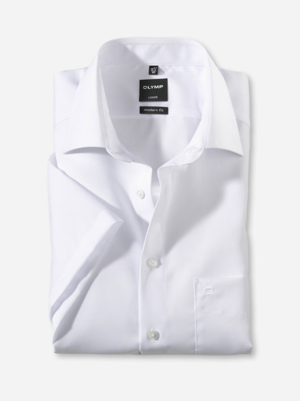 Olymp Modern Fit Short Sleeve White Shirt