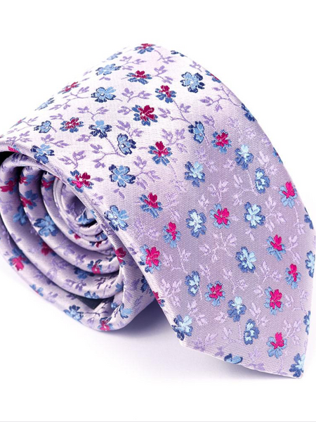 Andre Lilac & Blue Floral Tie