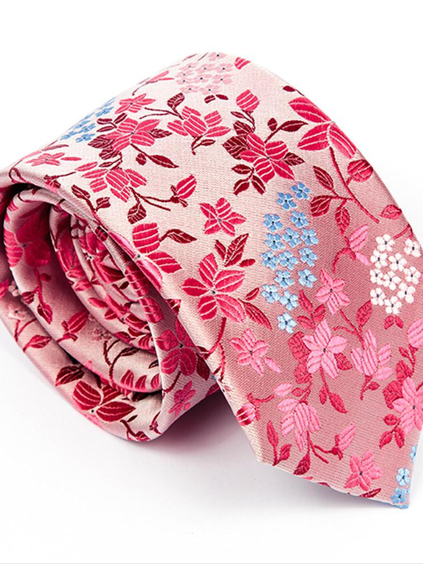 Andre Pink Floral Tie