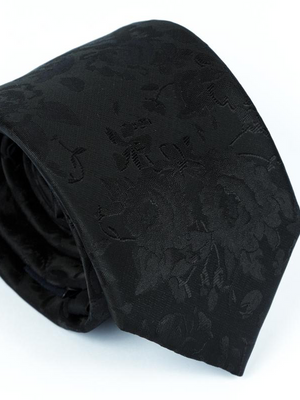 Andre Black Self Pattern Embossed Tie