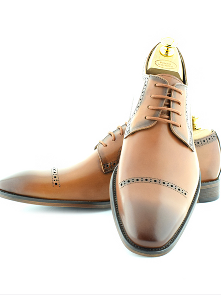 Paolo Vandini Tan Chisel Toe Derby Shoes