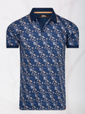4funkyflavours Cobalt & Taupe Print Polo