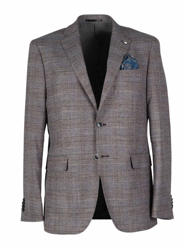2BLIND2C Burgundy Check Blazer