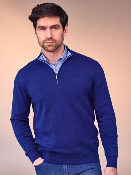 Andre Cong Navy Half Zip Knit