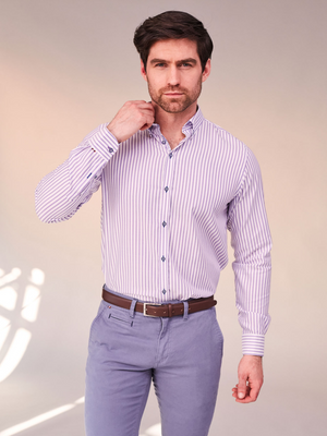 Andre Lilac Stripe Woven Shirt