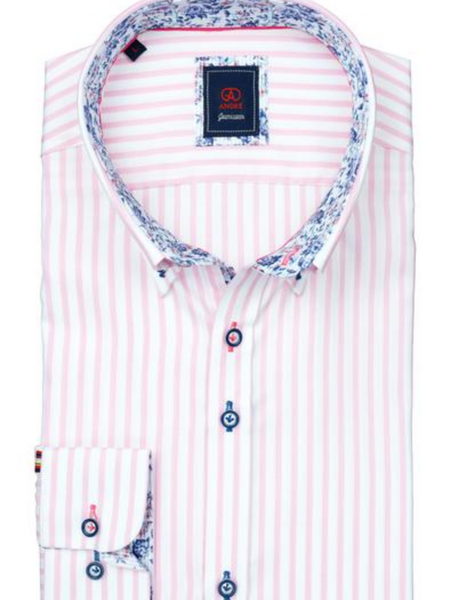 Andre Pink Stripe Woven Shirt