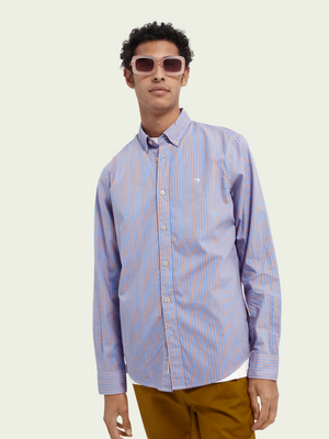Scotch & Soda Blue & Red Stripe Oxford Shirt