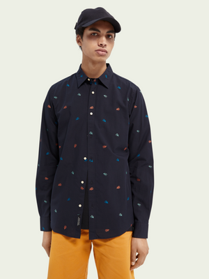 Scotch & Soda Dark Navy Print Shirt