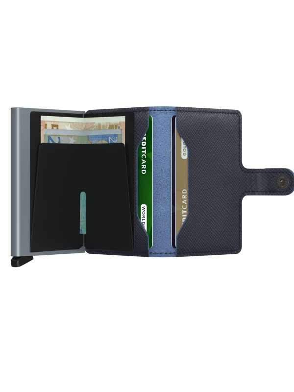 SECRID Saffiano Navy Mini Wallet