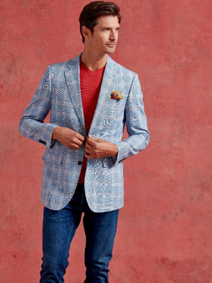 Skopes Blue & Rust Check Blazer