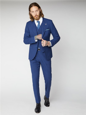 Gibson London Blue Textured Trousers