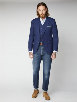 Gibson London Clifton Blue Textured Waistcoat
