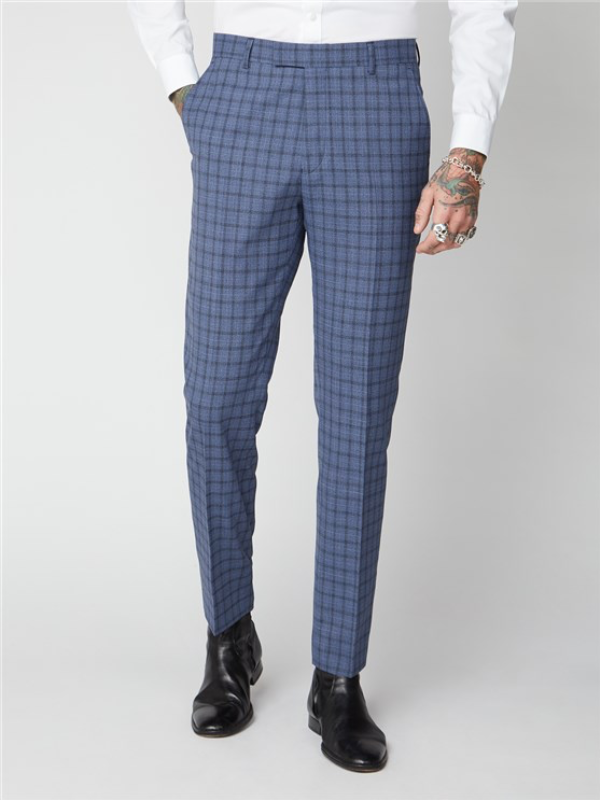 Gibson London Blue Check Trousers