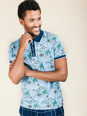 4funkyflavours Blue Sea Print Polo