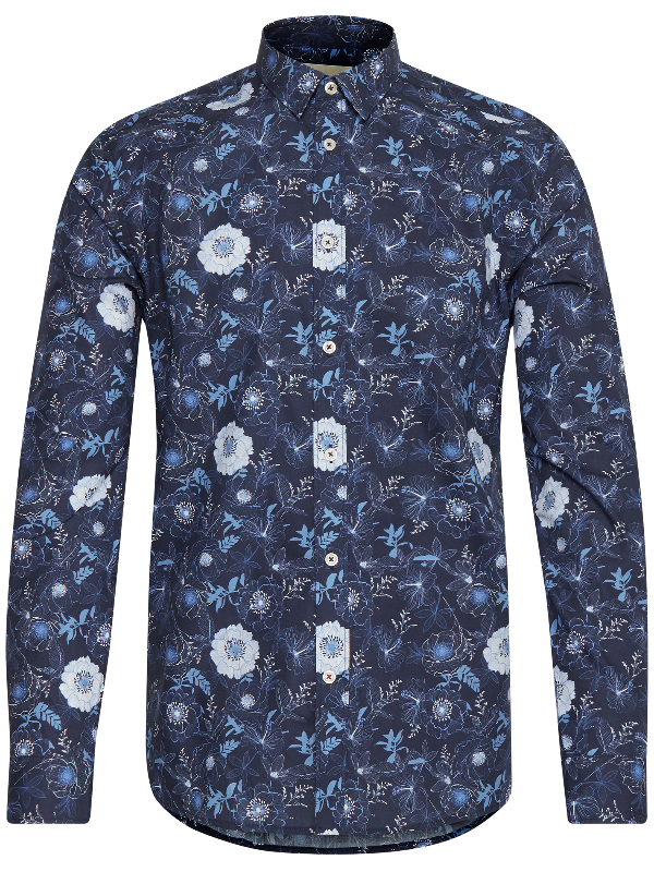 Tailored & Originals Navy Print Shirt