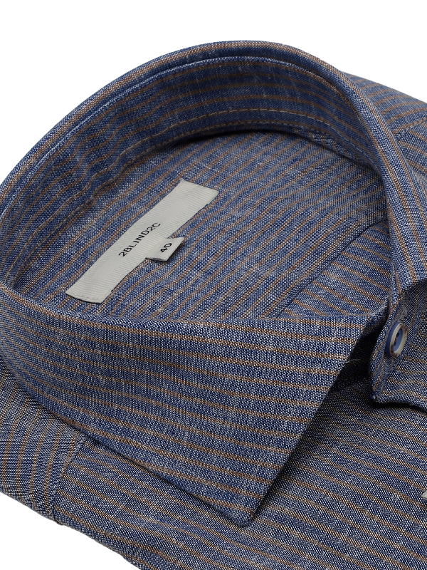 2BLIND2C Blue & Taupe Striped Shirt
