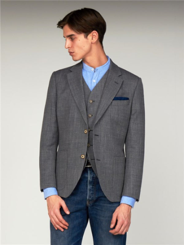 Gibson London Grey Basket Weave Blazer
