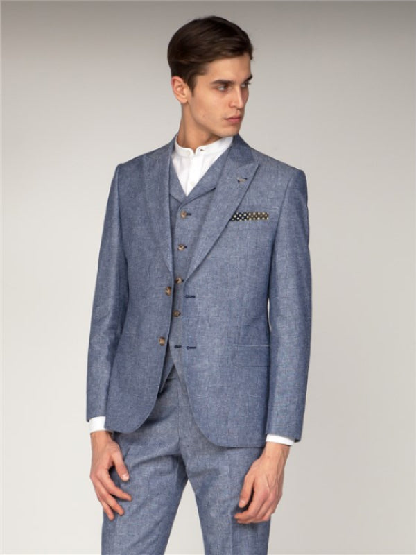 Gibson London Dark Blue Linen Jacket
