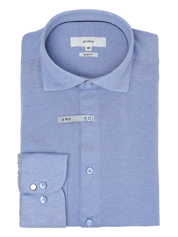 2BLIND2C Blue Slim Fit Stretch Shirt