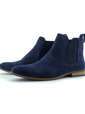 Paolo Vandini Navy Blue Suede Chelsea Boots