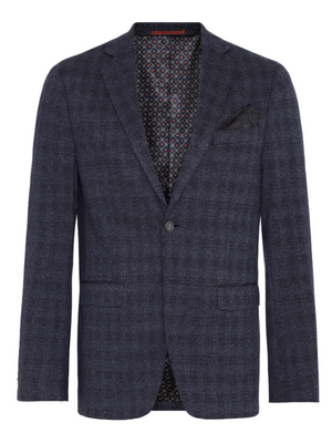 2BLIND2C Navy Shadow Check Stretch Blazer