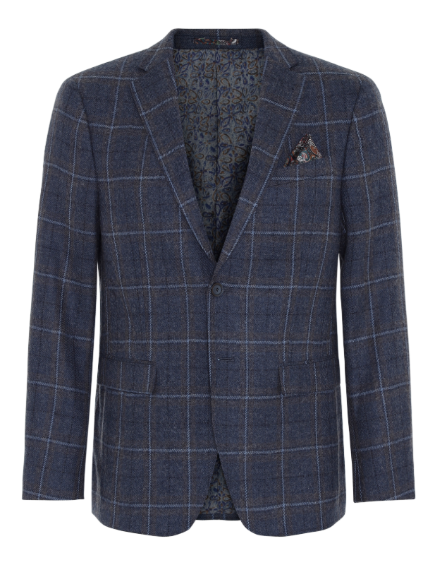 2BLIND2C Navy Check Blazer