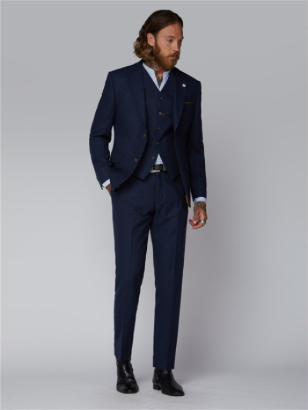 Gibson London Dark Blue Puppytooth Jacket