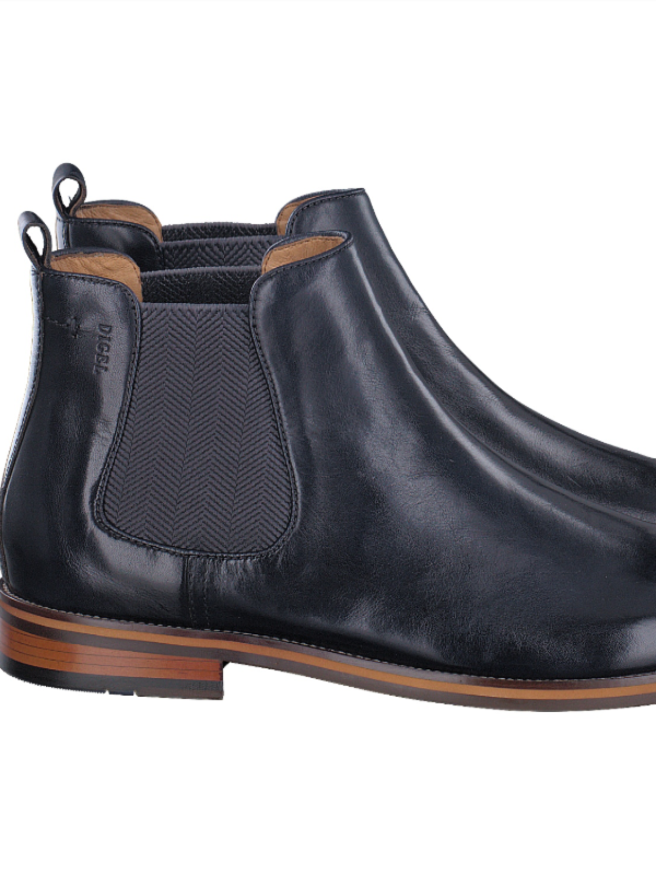 Digel Black Leather Chelsea Boots