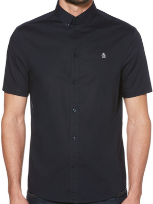 Original Penguin Navy Poplin Short Sleeve Shirt