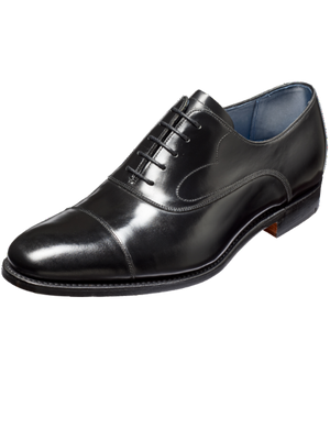 Barker Hartley Black Hi-Shine Leather Shoes