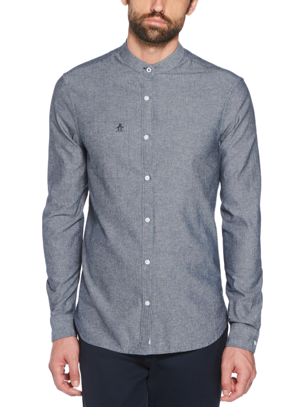 Original Penguin Collarless Chambray Shirt