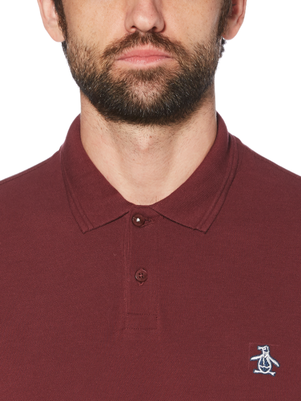 Original Penguin Raised Rib Long Sleeve Polo