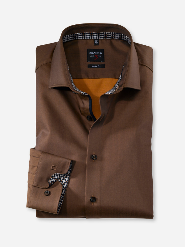 Olymp Body Fit Chocolate Brown Shirt
